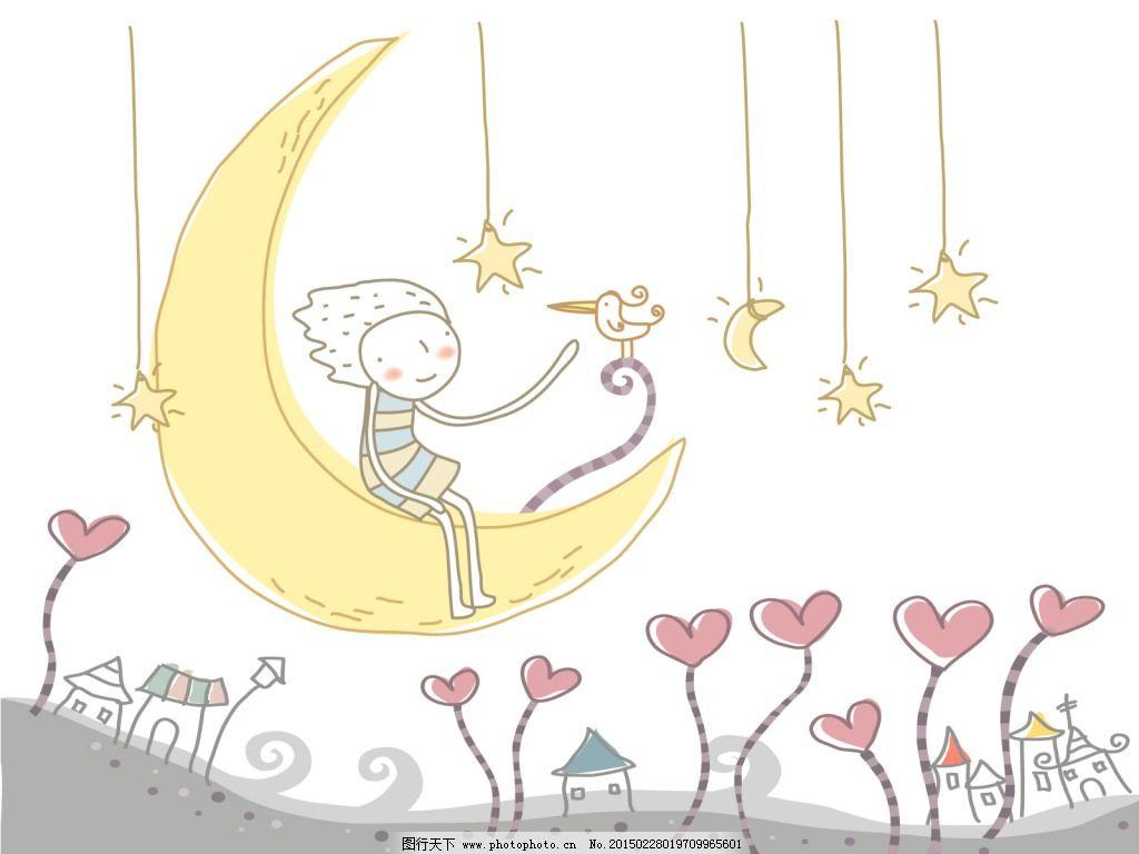 手绘月亮森系插画