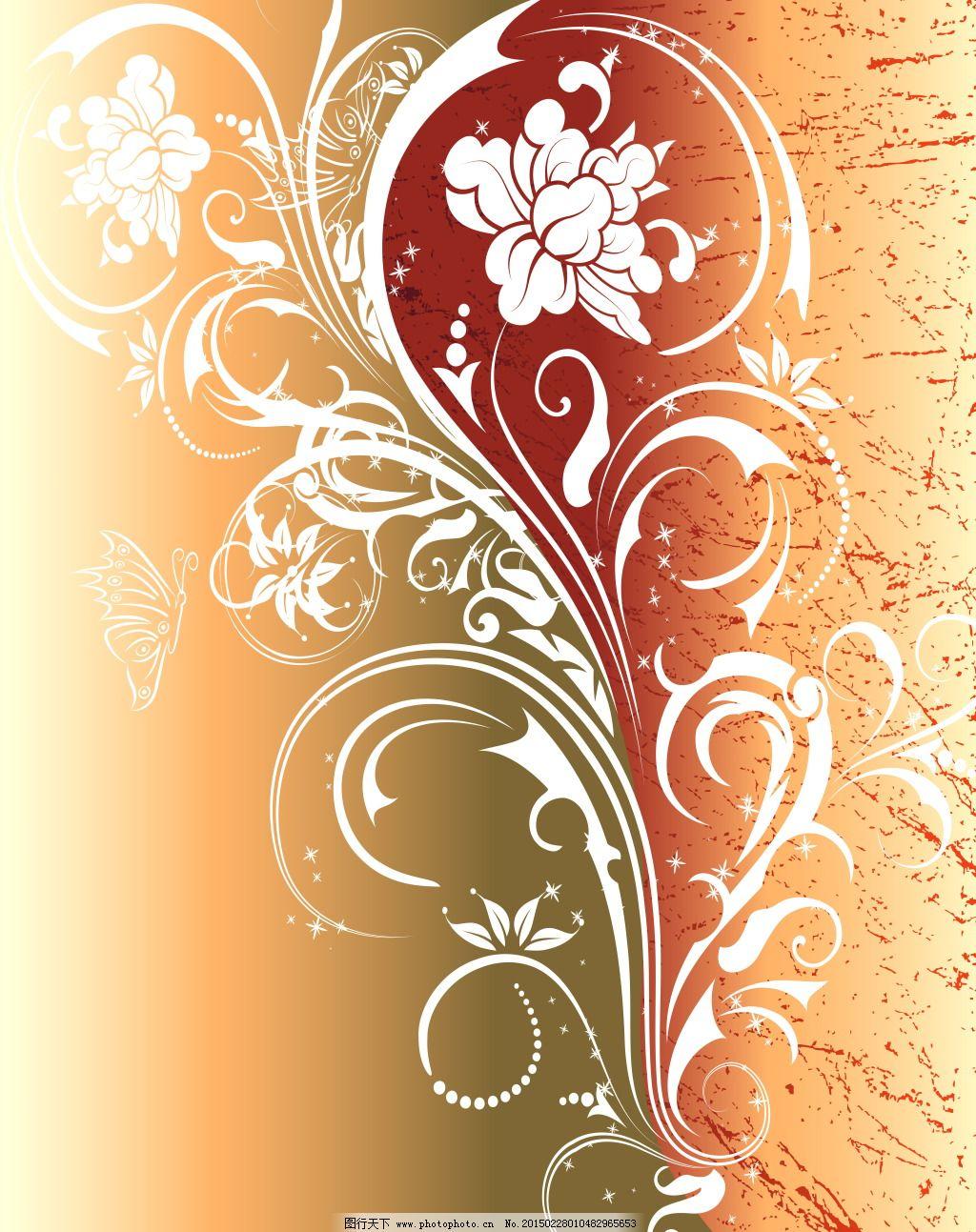 欧式花纹移门图案免费下载 牡丹 牡丹花纹 白色花纹 白色花朵 线条