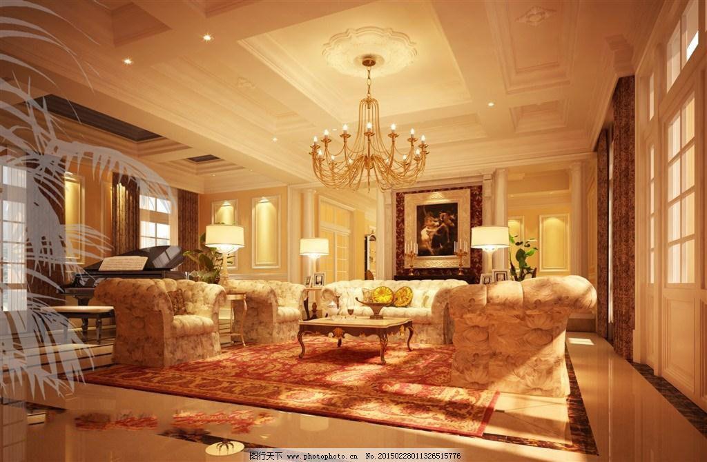欧式豪宅楼梯客厅内部图片大全
