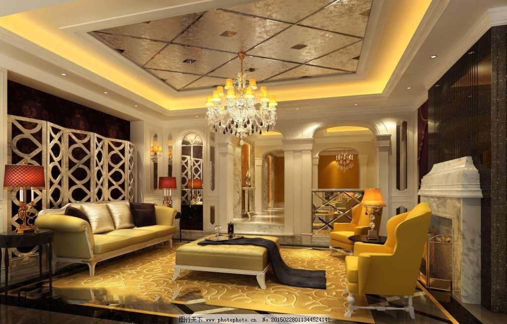 欧式客厅筒灯安装效果图