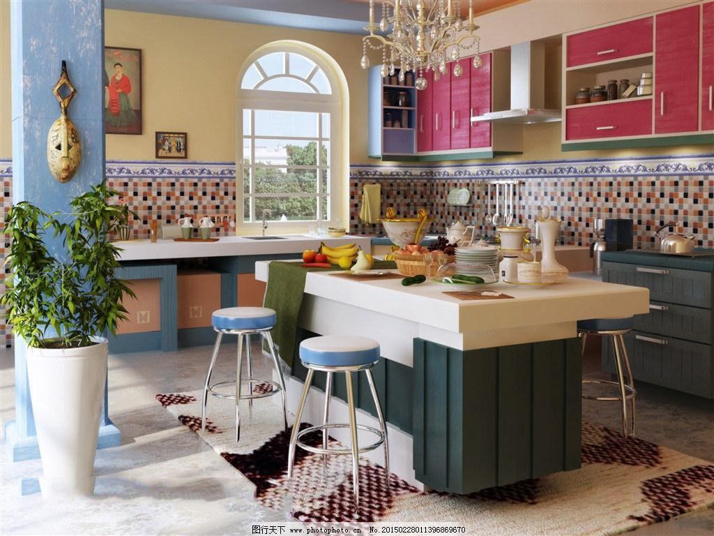 古典欧式 别墅厨房 装修效果图