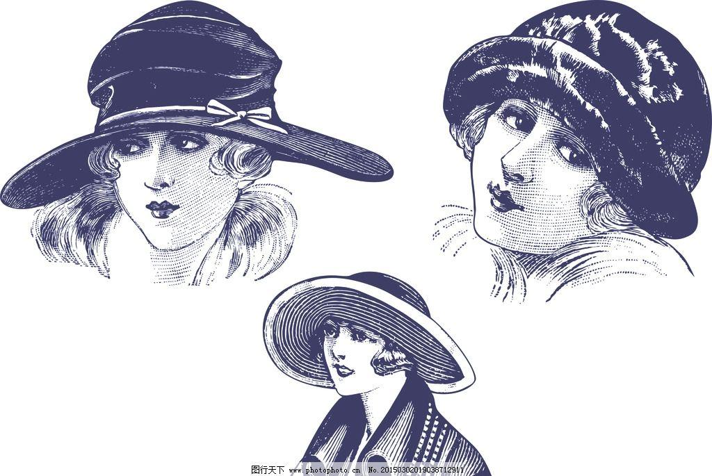 手绘欧式复古少女头像图片