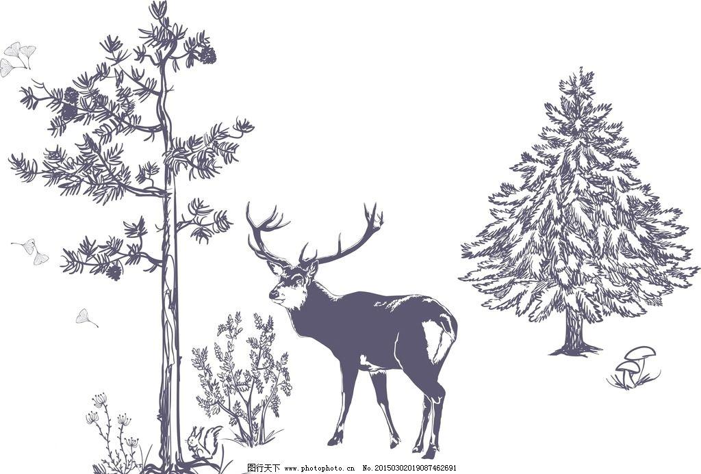 手绘松树梅花鹿图片