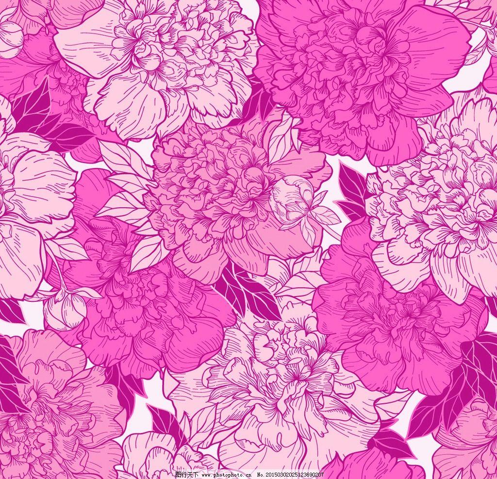 牡丹花背景 手绘 花卉 文本框 鲜花插图 手绘花朵 矢是