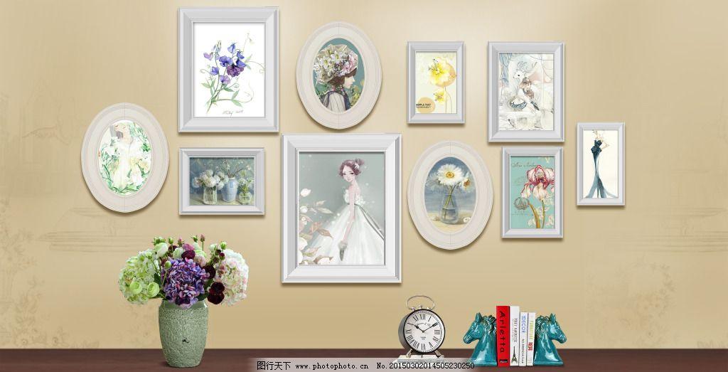 照片墙设计 照片墙设计免费下载 淡雅 欧美风 相框墙 原创设计