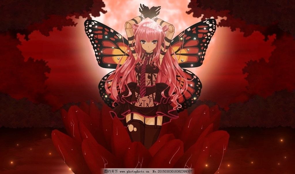 手绘美女 蝴蝶 红花 美女 动漫美女 唯美 动漫 设计 动漫动画 动漫