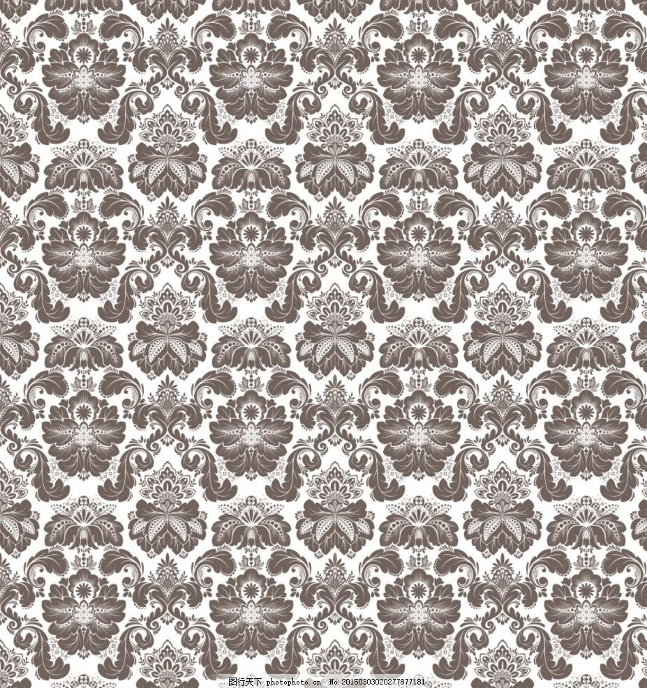 欧式花纹底纹 黑白花纹边框 装饰线条元素 欧式 花纹 欧式背景 无缝