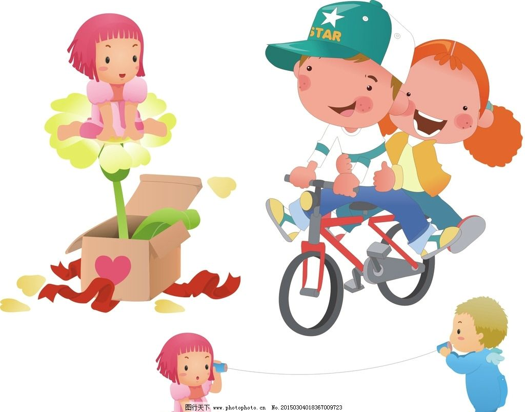 卡通儿童 自行车图片