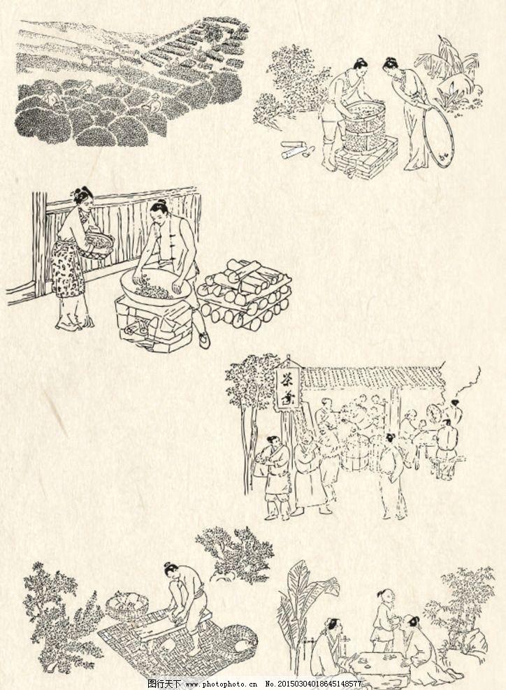 设计图库 动漫卡通 其他  制茶工艺 线描 矢量 素材 茶叶 制茶 工艺