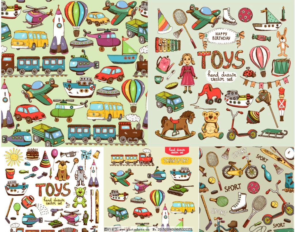 手绘儿童玩具图片,可爱 卡通 儿童玩具素材 交通工具