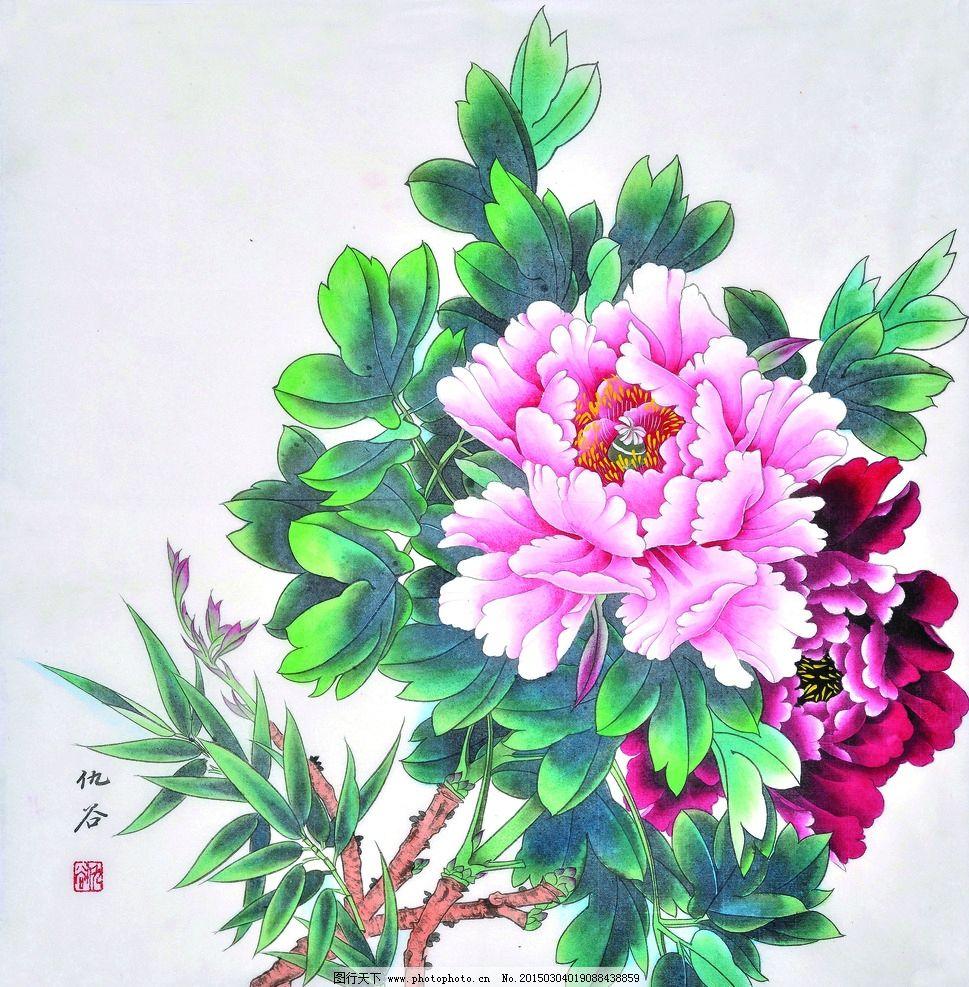 牡丹图 美术 中国画 工笔画 花木 牡丹花 国画牡丹 仇谷国画