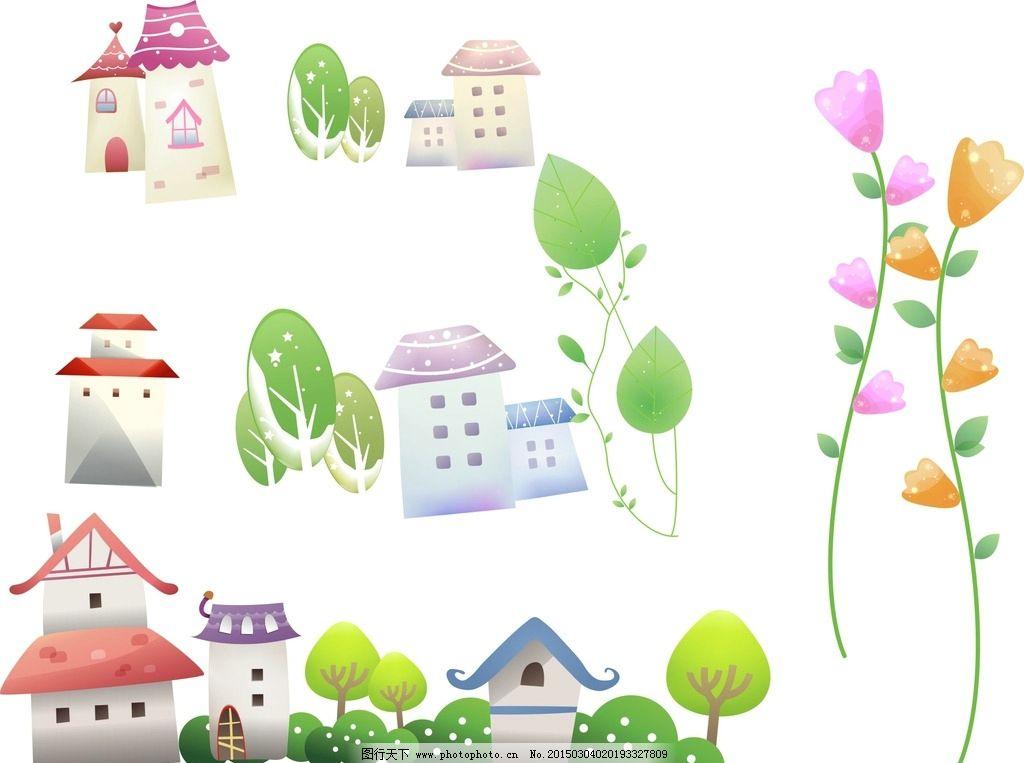 卡通房子素材 花朵图片_其他_标志图标_图行天下图库