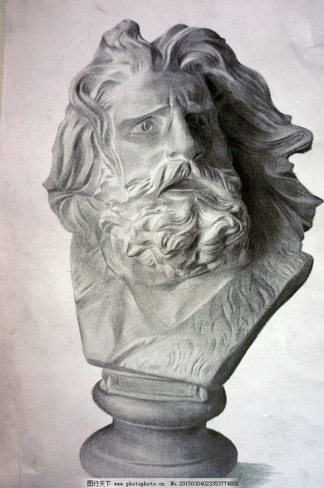 马赛图片,素描 石膏 石膏像 铅笔 纸-图行天下图库