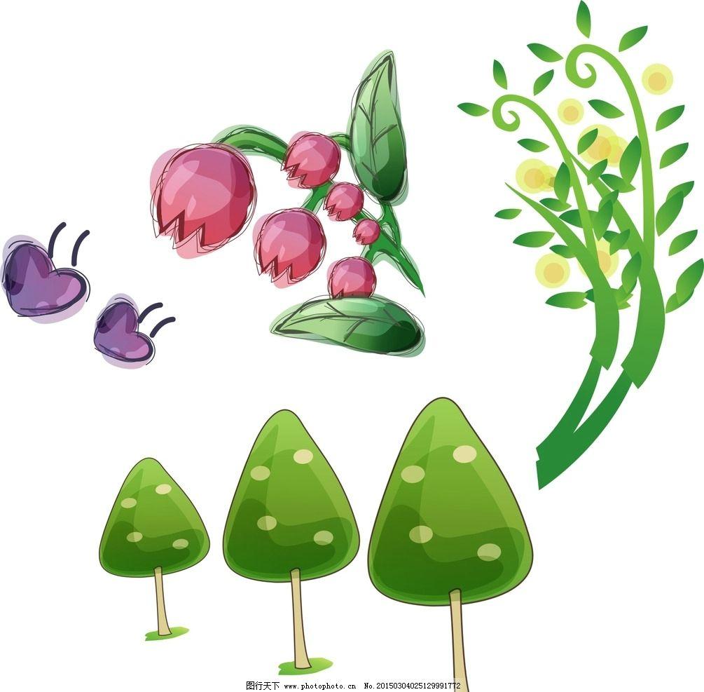 绽放 可爱 手绘 鲜花矢量 绿叶 叶子 花朵素材 装饰花朵 水彩花卉