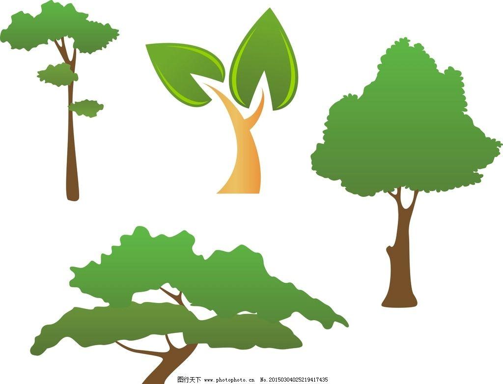 卡通 绿色树木 通素材 可爱 手绘素材 儿童素材 幼儿园素材 卡通装饰