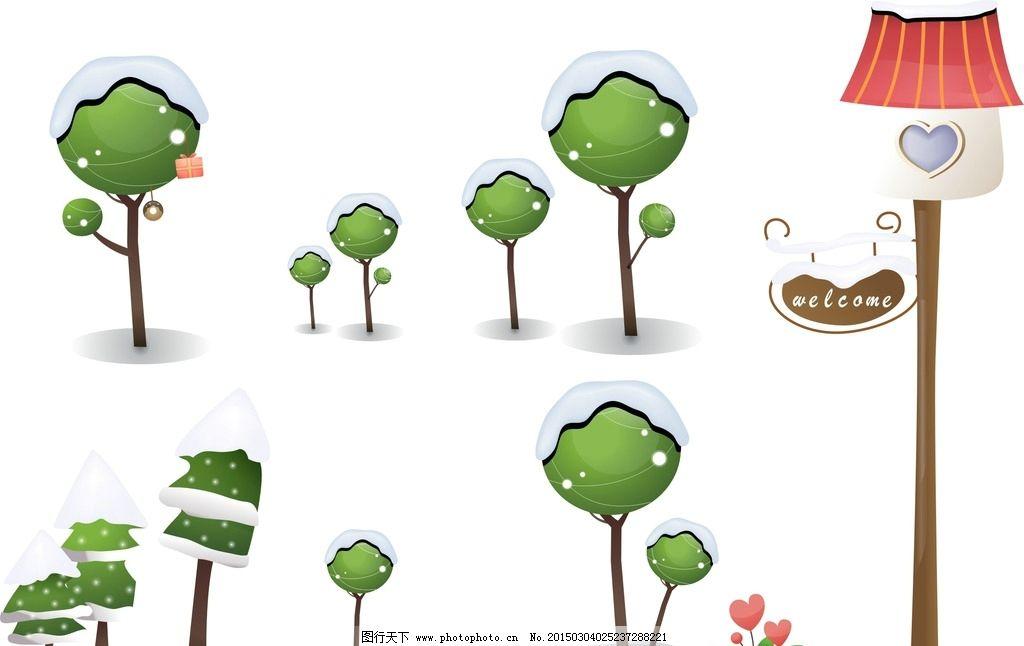 卡通树木素材 梦幻树木素材 绿色 手绘 手绘插画 雪 花朵 鸟窝 卡通鸟