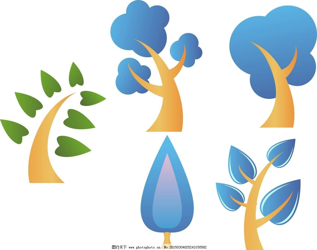 矢量 抽象设计 时尚 可爱卡通 矢量素材 幼儿园 装饰素材 卡通树木