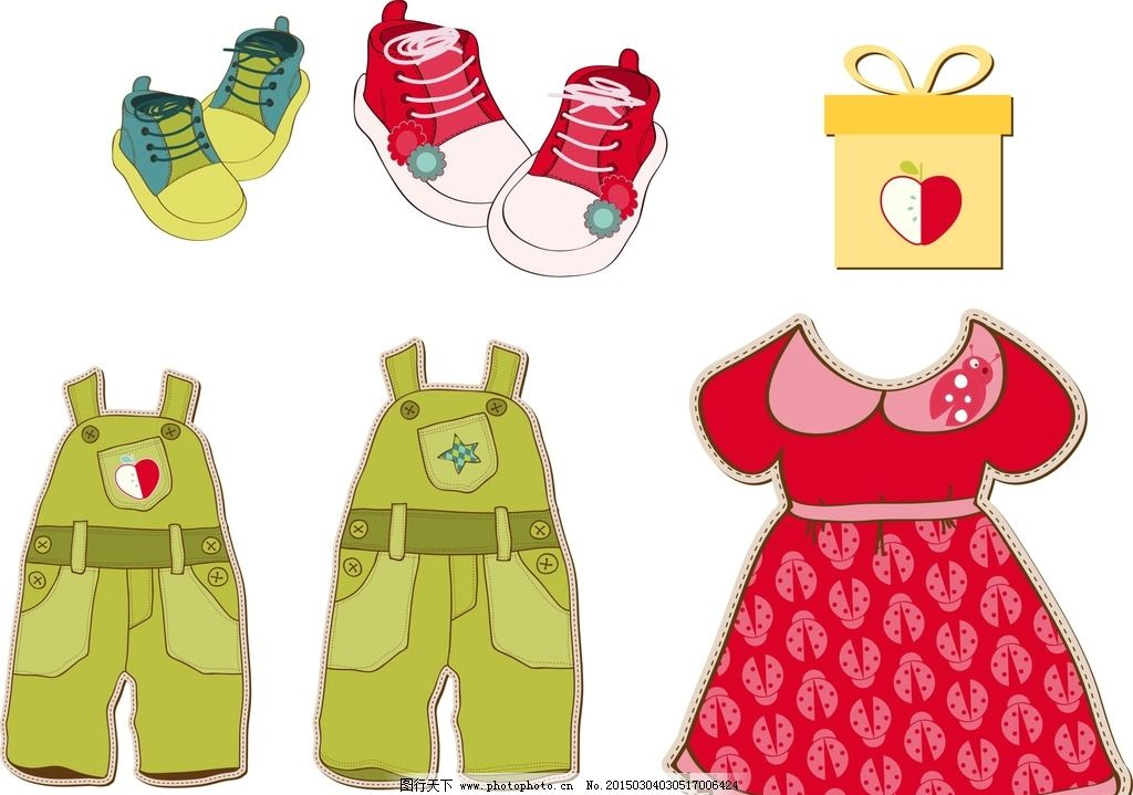 矢量裙子 手绘裙子素材 儿童裙子 吊带裤 矢量吊带裤 儿童衣服 鞋子