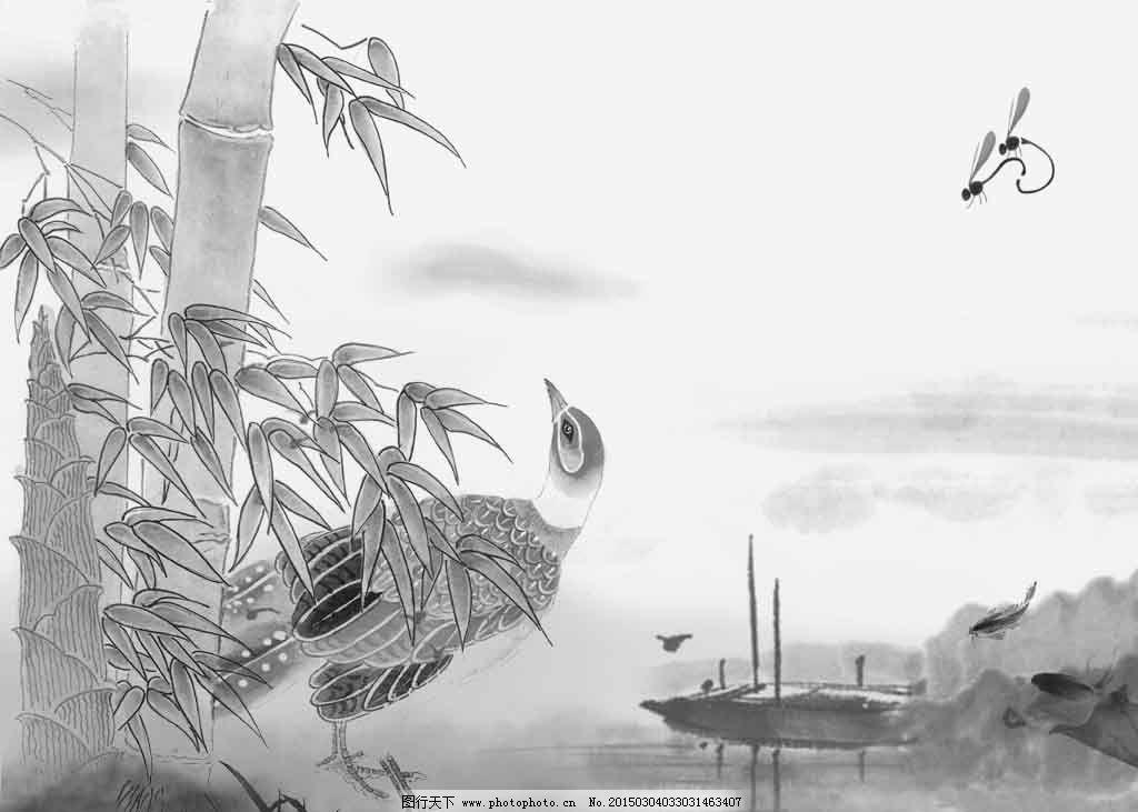 小桥竹叶流水山鸡水墨画图片
