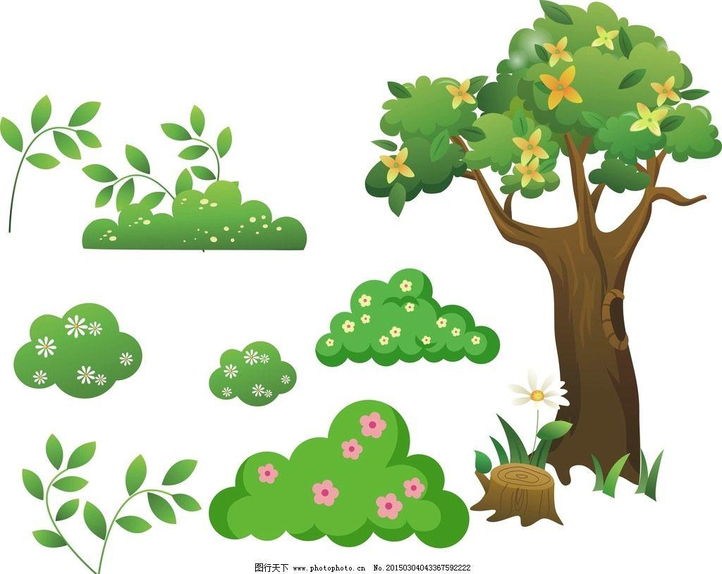 绿色树木手绘图片