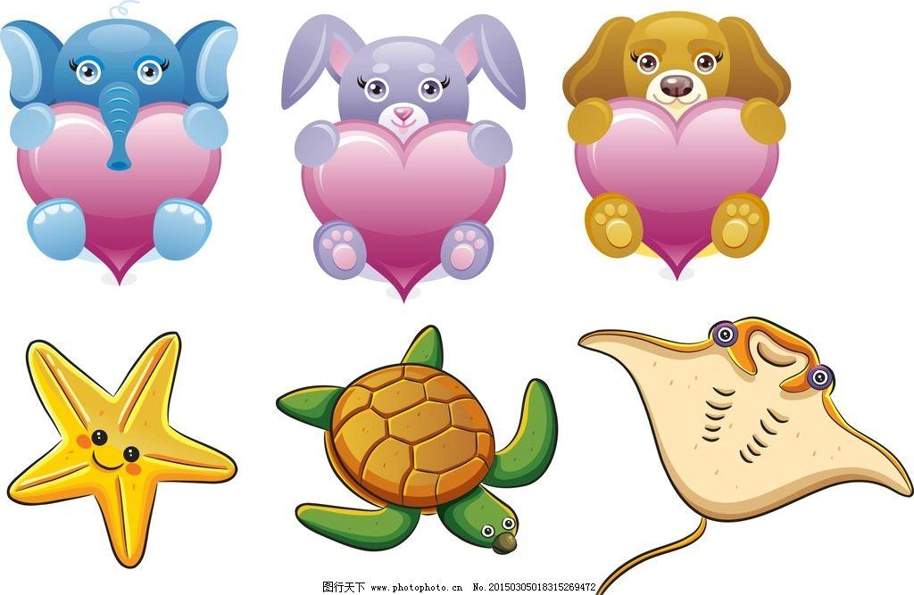 卡通动物 心形 卡通素材 可爱 手绘素材 儿童素材 幼儿园素材