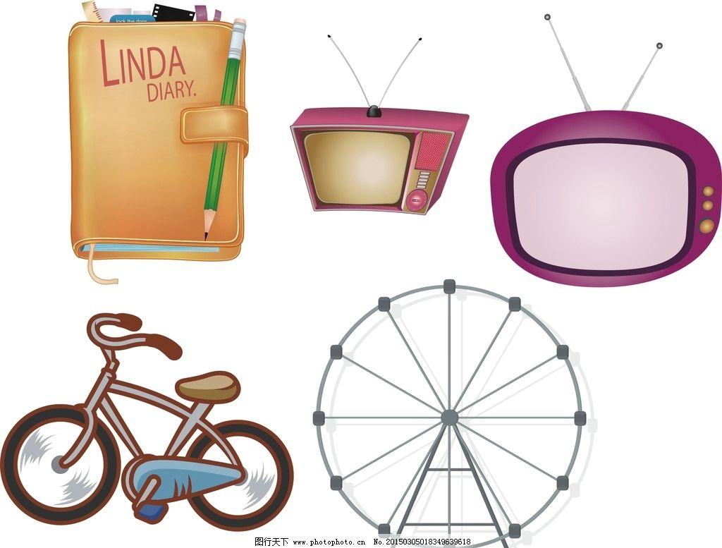 矢量摩天轮 自行车图片,卡通素材 可爱 手绘素材 儿童