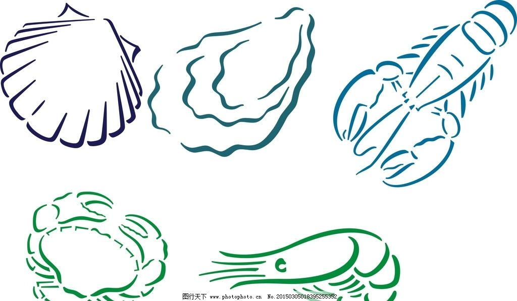 矢量海鲜 螃蟹图片,可爱 手绘素材 卡通装饰素材 矢量
