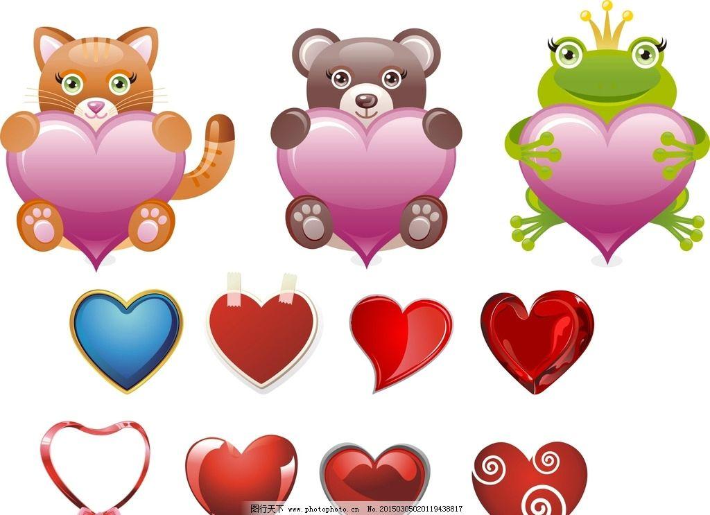 卡通动物心形图片