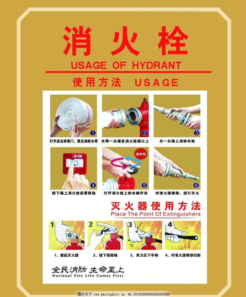 消防双 消火栓 灭火器 使用方法 安全 火灾 设计 广告设计 展板模板