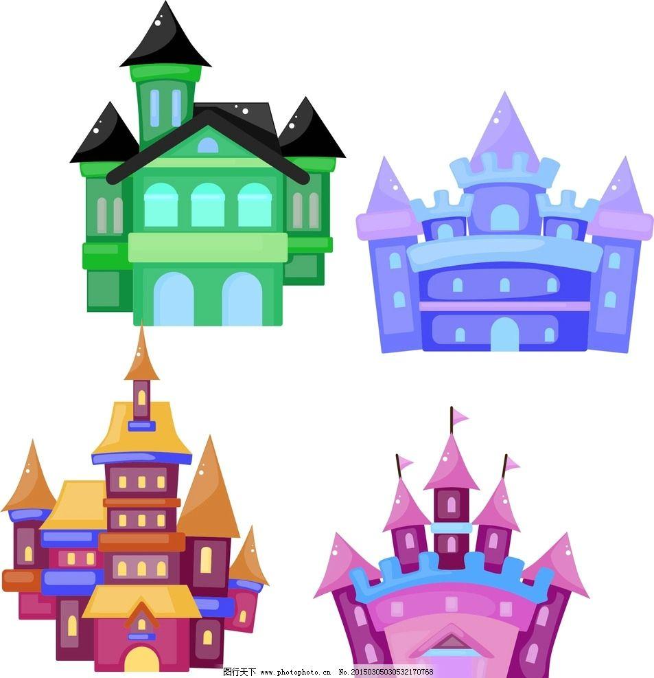 抽象设计 时尚 可爱卡通 矢量素材 卡通小房子 小房子矢量图 幼儿园小图片