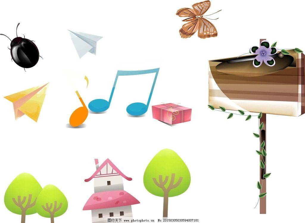 公告栏 树木 音符 卡通素材 可爱 手绘素材 儿童素材 幼儿园素材