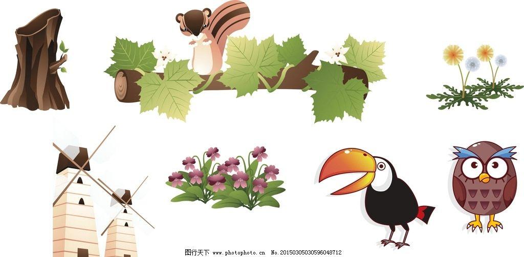 房子 蒲公英 卡通素材 可爱 手绘素材 儿童素材 幼儿园素材 卡通装饰