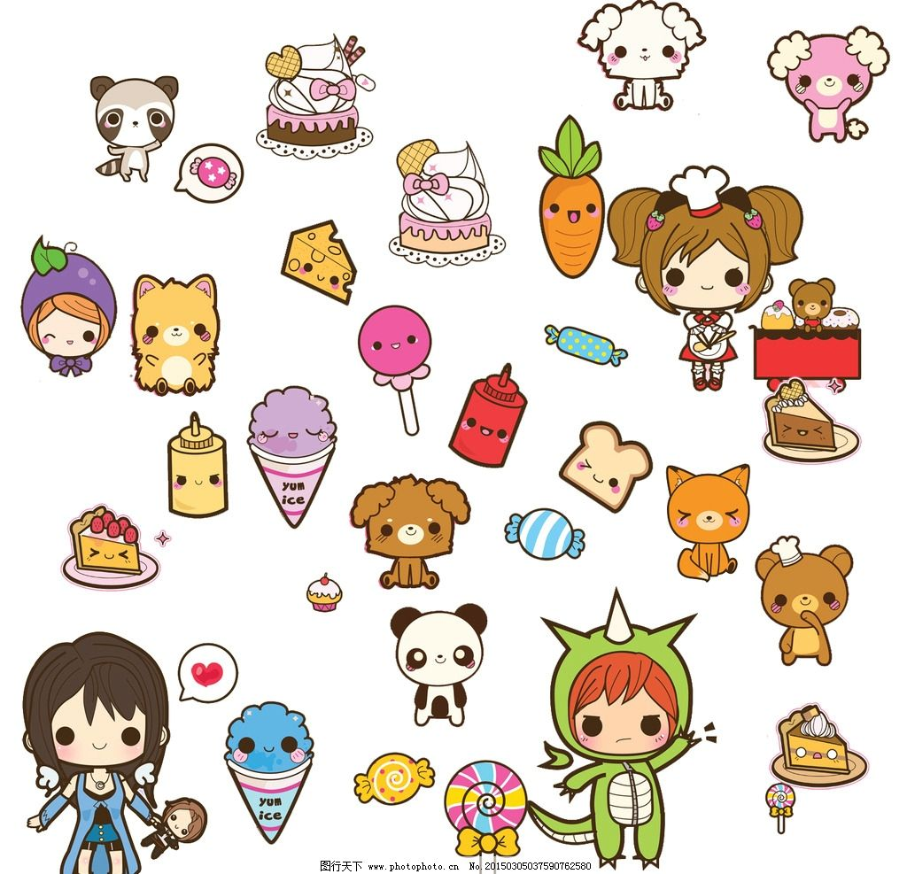 小狗 胡萝卜 熊猫 棒棒糖 小熊 蛋糕 甜品 糖果 鞭炮 奶酪 卡通蛋糕