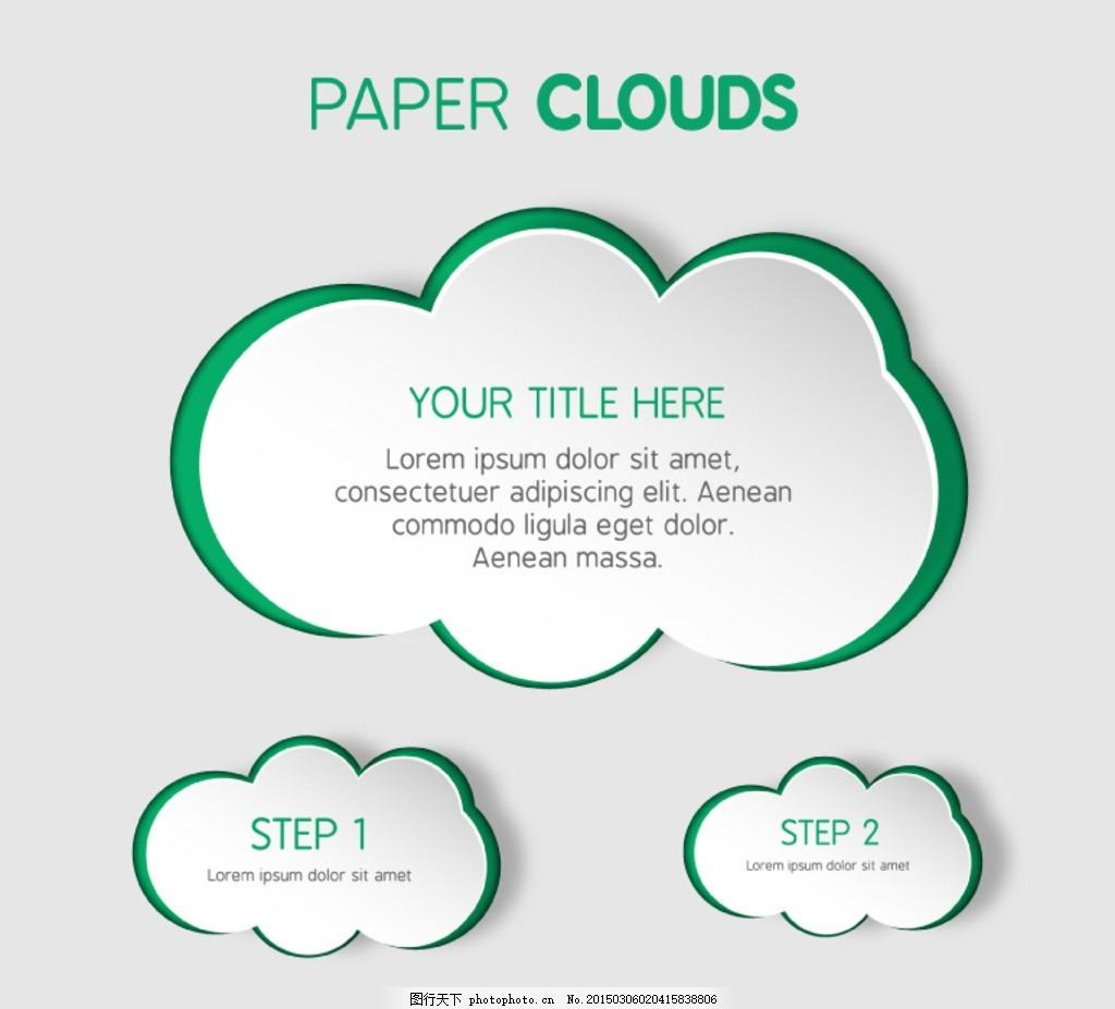 创意绿底纸云设计矢量素材 云朵 形状 对话框 贴纸 边框 背景