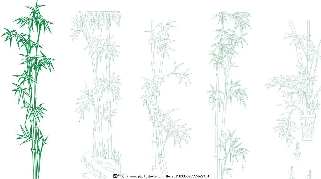 幼儿园竹子线描