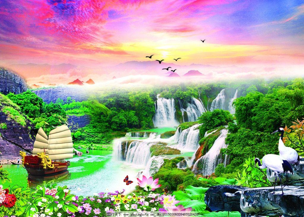 风景画 沙发背景墙 电视背景墙 装饰画 艺术画 中式 瓷砖背景画 现代