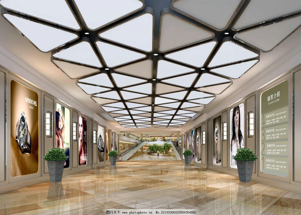 商场室内效果图片,大堂 入口 灯光 地产 业态 透视-图
