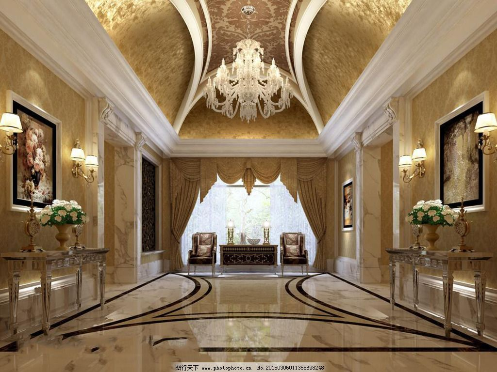 欧式别墅大厅模型免费下载 灯具模型 室内设计 室内设计 大厅模型