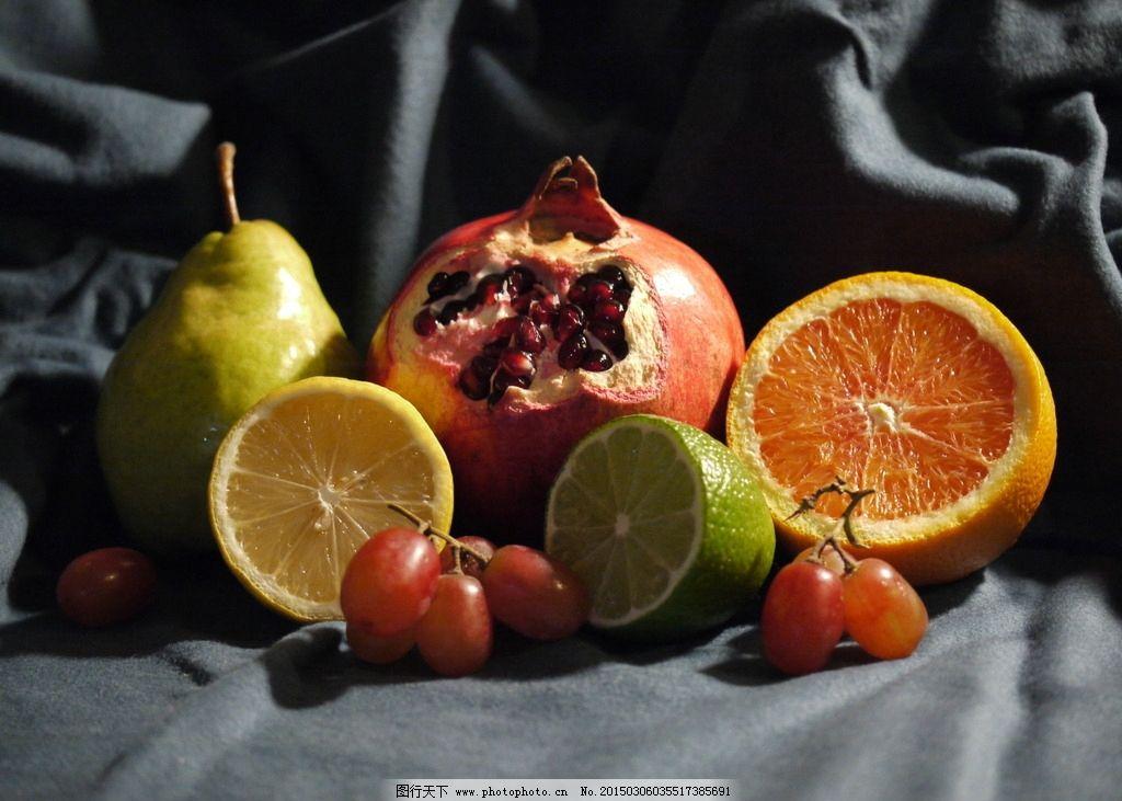水果静物特写 静物摄影 石榴 橙子 柠檬 食物 生物世界图片