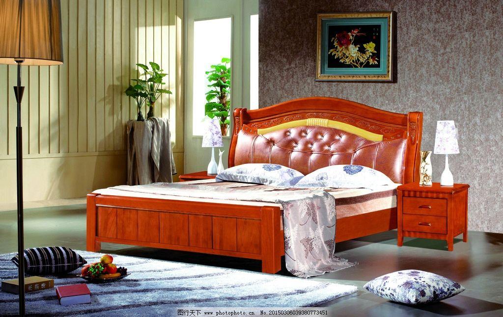 实木床背景图片