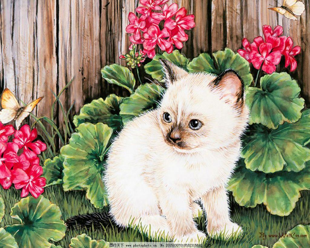 可爱的小猫油画 可爱的小猫油画免费下载 动物 油画系列 装饰素材