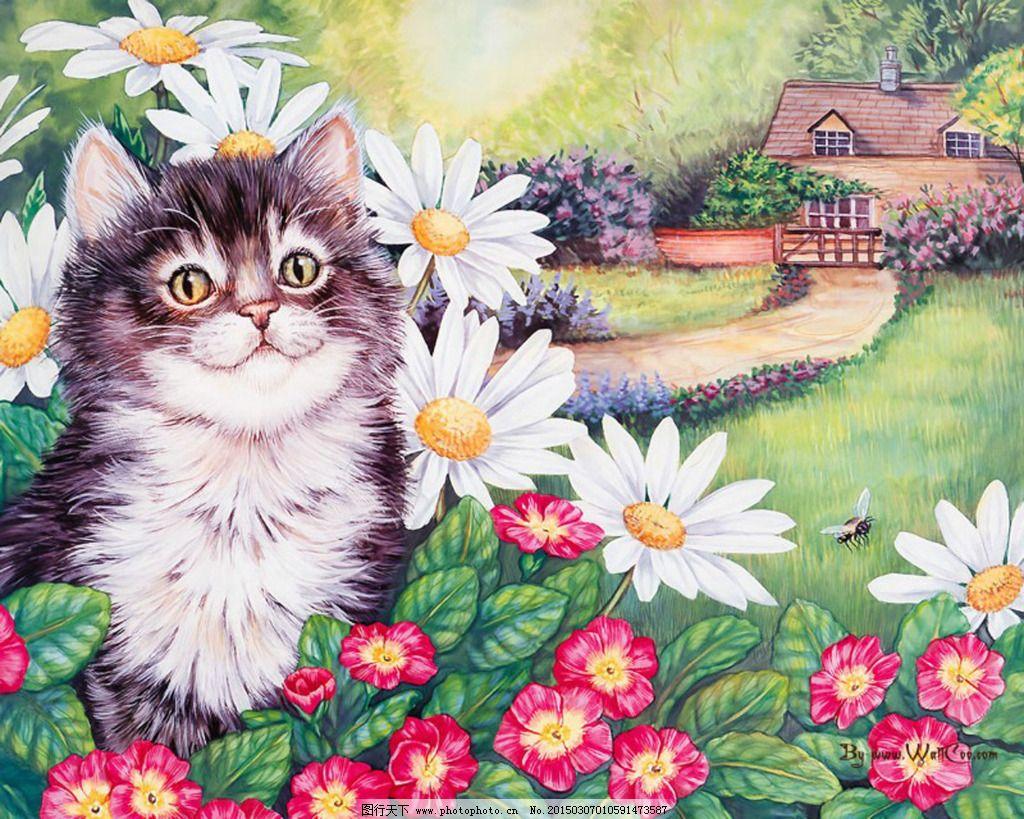 小动物 小猫 油画 小猫