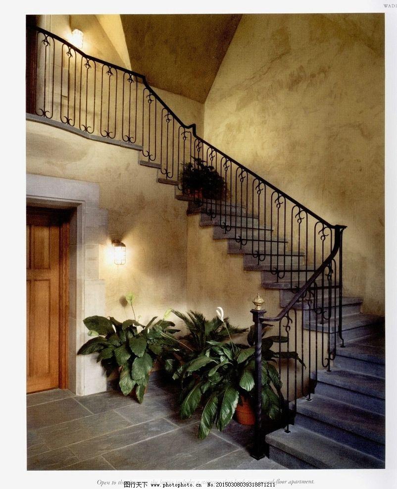 室内场景 壁画 摄影 楼梯 盆景 场景专辑 摄影 建筑园林 室内摄影 72d