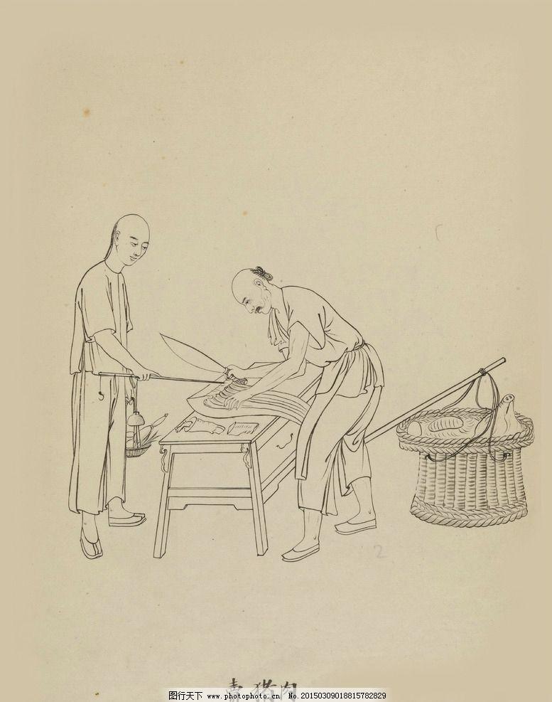 市井三十六行图片,传统手工艺 白描线描 高清背景图