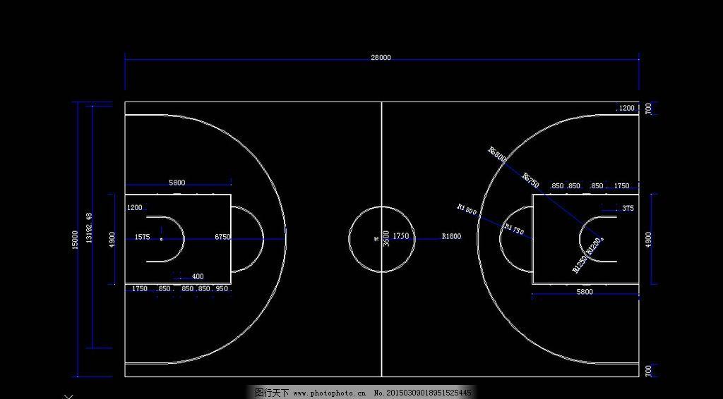 篮球场地尺寸图图片