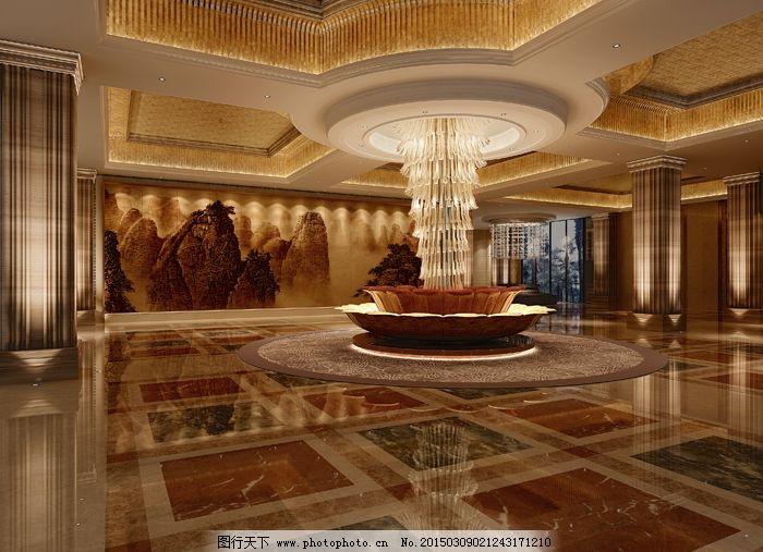 欧式华丽酒店大堂模型