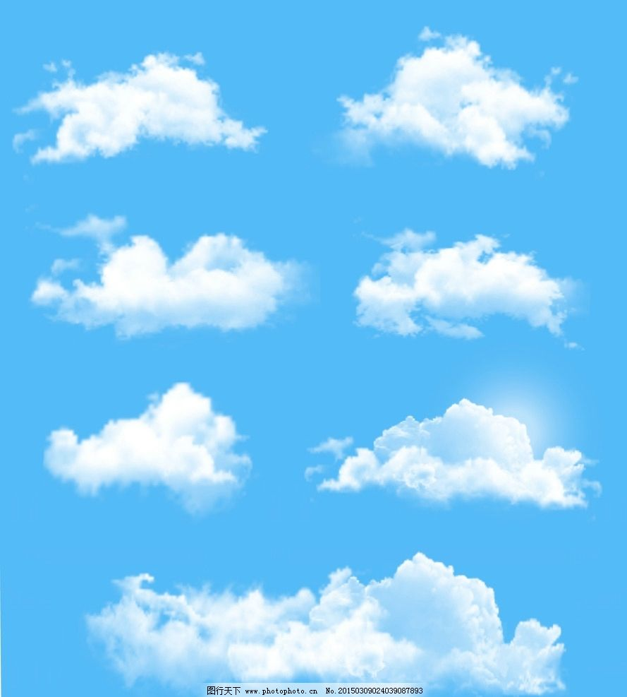 蓝天白云 天空 手绘 云彩 云朵 自然风光 底纹背景 矢量 eps 设计