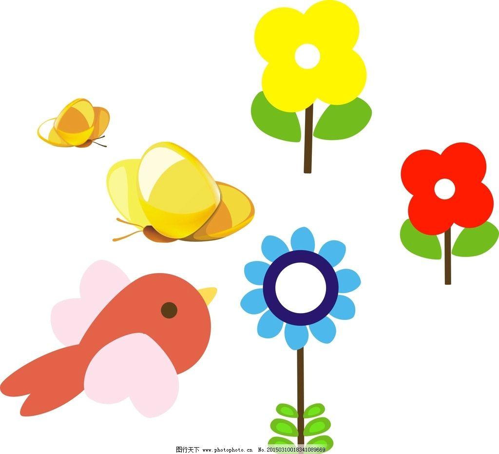 卡通蝴蝶 花朵 小鸟图片