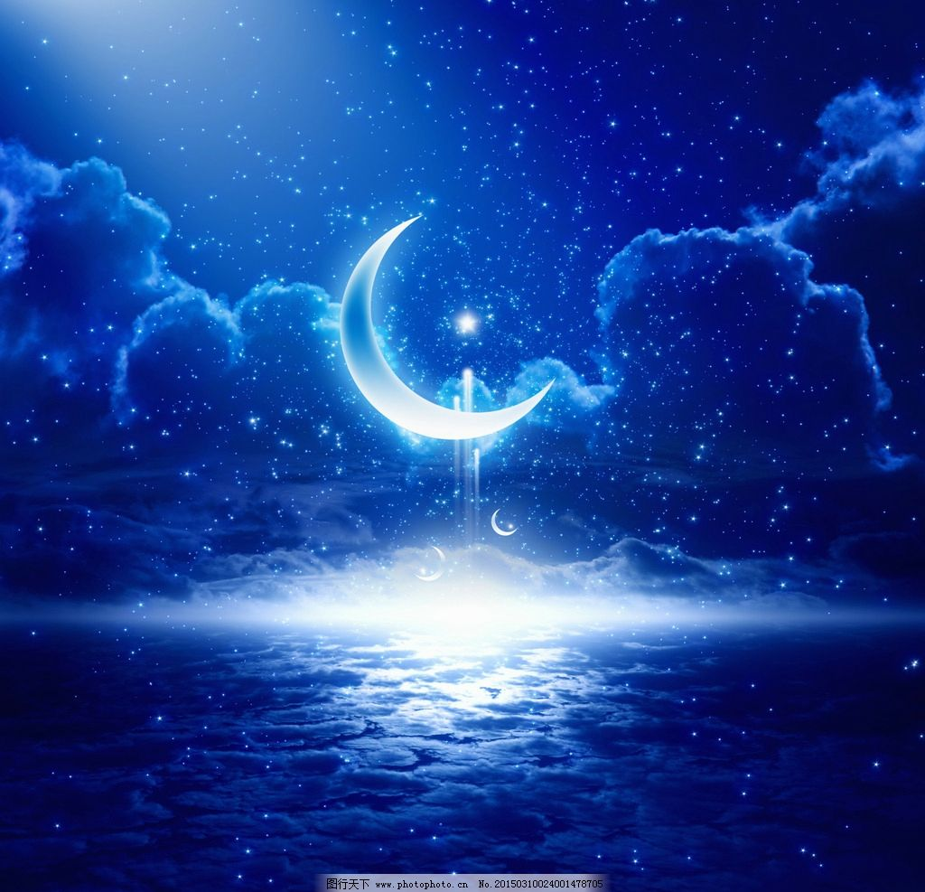 唯美 浪漫 梦幻 夜色 月色 月亮 夜空 夜景 夜晚 星星 月牙 弯月 半月图片