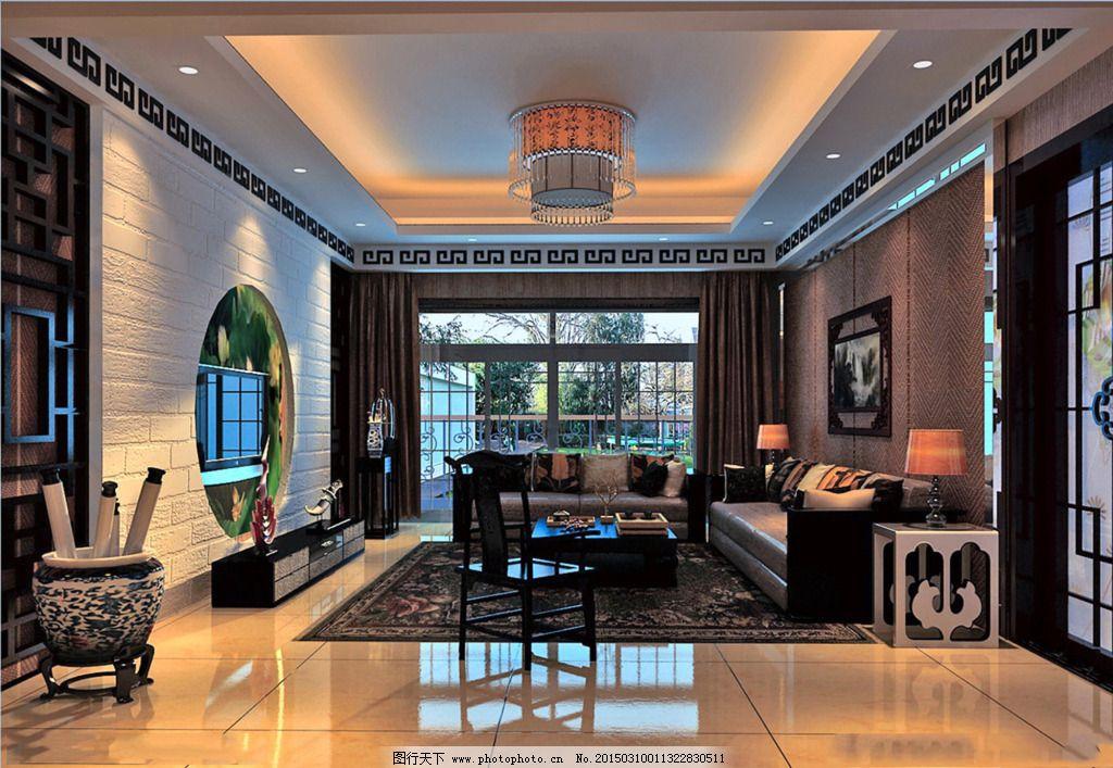 时尚客厅装修设计图_室内设计_装饰素材_图行天下图库